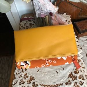 Floral and mustard yellow fold clutch purse
